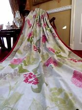 STUNNING Next Long Eyelet Curtains Natural Pink Flourish Floral 100% Cotton New!