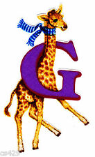 "4.5"" SILLY ANIMAL ALPHABET ABC'S LETTER G GIRAFFE FABRIC APPLIQUE IRON ON"