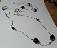 LONG BLACK silver plated TRANSLUCENT PURPLE  BEADED FLAPPER NECKLACE