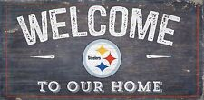 """Pittsburgh Steelers Welcome to our Home Wood Sign - NEW 12"""" x 6"""" Decoration Gift"""