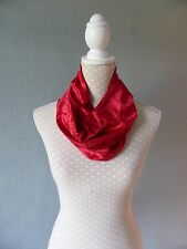 Red velour snood, red crushed velvet cowl scarf, red velour loop scarf