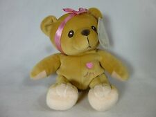 "Cherished Teddies retired plush AVA 7"" brown teddy bear with pink bow with tag"