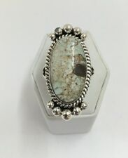 Native American Sterling Silver Navajo Dry Creek Turquoise Ring Sz 8.5