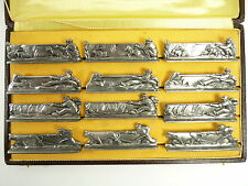 FRENCH Silver Plate - Art Deco FARMYARD Scenes - Set of 12 KNIFE RESTS
