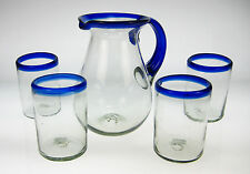 Mexican Glass blue rim with matching pitcher, hand blown