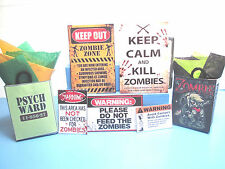 Dollhouse Miniature Zombie Set, 5 POSTERS & 2 SHOPPING BAGS, F849