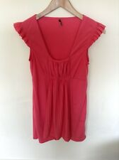 Topshop Pink Top Tunic Ruffles Detail Tshirt Ladies Size 10  M307
