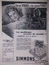 PUBLICITÉ 1956 MATELAS SIMMONS SAVOIR DORMIR - JACQUELINE HUET- ADVERTISING
