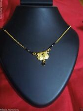 Ethnic Women Wear Black Beads Ginni Gold plated Mangal Sutra Necklace Chain 18''