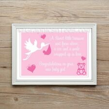 New Born Baby Girl Keep sake Christening Gift Present A4 Print