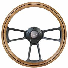 1972 1973 Chevy C10 Pick-Up Truck Oak Steering Wheel + Black Billet Adapter
