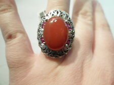 Red Agate Ring w/Simulated Red Diamond in Platinum Overlay-Size 7-14.70 Carats