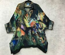 Dilemma New York Lagenlook Art To Wear Tunic Blouse Top One Size Plus Size