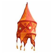 Indischer Lampenschirm rot - orange 48 cm Baumwolle Dekolampe Orient Hängelampe