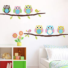 Stickers Decor Lovely amovible Colorful Owl oiseaux branche Wall Stickers maison