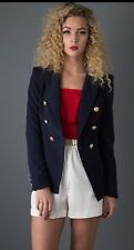 Ladies Double Breasted Tailored Blazer In Navy Smart Office Size 38 Uk 10