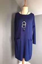 East ~ PLUS SIZE, 100% Merino Wool, Blu Scuro Maglione Abito ~ XL 20 / 22