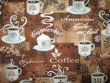 COFFEE CUPS DRINKS SPECIALTY ESPRESSO AMERICANO BROWN COTTON FABRIC FQ
