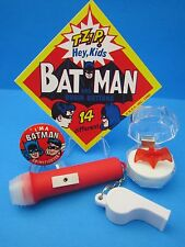 VINTAGE 1966 BATMAN SUPERHERO TOY CLUB COLLECTION - RING, PINBACK, WHISTLE, SIGN