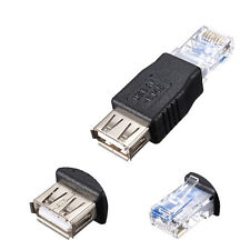 2X USB 2.0 Female to RJ45 Male Ethernet Network Cable Converter Adapter Black