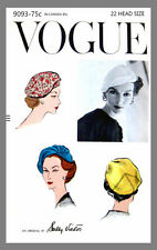 Vintage Vogue Designer Sally Victor Hat Fabric material sewing  pattern # 9093