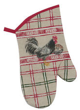 Chicken Oven Mitt | Cotton | Farm Rooster | Beige & Red | Free US Shipping!