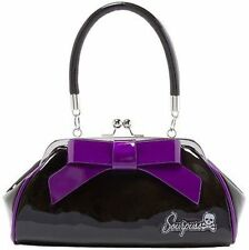 Sourpuss Floozy Purse Black & Purple Punk Goth Rocker Tattoo 50S Retro Handbag