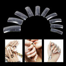 500X Clear Half Transparent French Acrylic UV Gel Manicure False Nail Art Tips