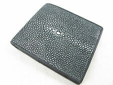 Genuine Black Polished Stingray Skin Leather Mens Bi-Fold Wallet + FREE SHIPPING