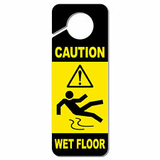 Caution Wet Floor Plastic Door Knob Hanger Sign