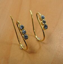 925 SOLID STERLING SILVER GOLD OVERLAY WITH CRYSTAL HOOK EARRING FINDINGS