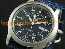 SEIKO 5 SNK807 SNK807K2 Military Army Green Automatic Nylon Free Ship