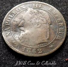 1862-K Napoleon III France 2 Centimes Coin (Damaged)