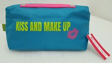 My Tagalongs KISS AND MAKE UP Padded Cosmetic Travel Bag Teal Lime Green NWT