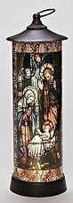 "Roman 16"" LED HOLY FAMILY NATIVITY Cylinder LANTERN Stained Glass Style 164094"