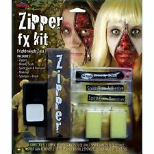 Halloween Zombie Zipper Face Kit Zip Teeth Fangs Special FX Makeup Gore