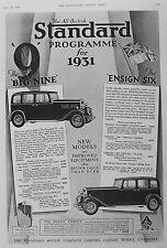 OLD VINTAGE ADVERT STANDARD MOTOR CAR c1930 BIG NINE ENSIGN SIX ENVOY TWENTY