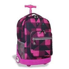 Rolling Wheeled Backpack for School Travel Book bag Luggage Carry (Block Pink)