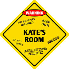 "*Aluminum* Kate's Room Kids Room Door 12""x12""  Metal Novelty Sign"