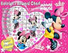 minnie mouse Personalised With Free Stickers/photo Reward Laminated Chart