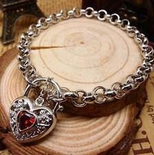 New 14K White Gold Filled Ruby Filigree Heart Charm Belcher Chain Bracelet