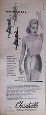 PUBLICITÉ 1957 CHANTELLE LA GAINE MODÈLE 667 QUI NE REMONTE PAS - ADVERTISING