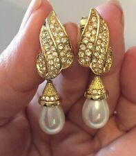 Christian Dior Pearl Rhinestone Crystal Clip On Earrings Germany Signed