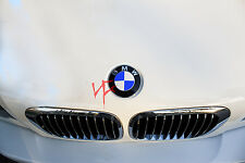 CARBON FIBER WHITE Roundel Emblem Overlay Decal Sticker FITS BMW HOOD TRUNK