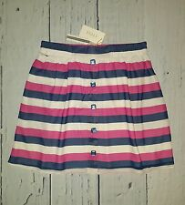 TULLE Preppy Nautical Striped Chiffon Full Skirt Pink Navy M