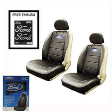 New FORD Elite Synthetic Leather Car Truck 2 Front Seat Covers Set Airbag Ready