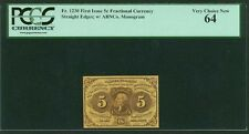 """1862-63 5 Cents Fractional Currency Fr-1230 Certified Pcgs """"Very Choice New-64"""""""