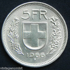 "SWITZERLAND ""5 FRANCS 1966 SILVER"" antique coin...."