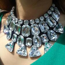 Statement Rhinestone Crystal Black Ribbon Tie Bib Gem Collar Necklace RTUS