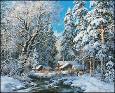 Needlework Crafts Full Embroidery Counted Cross Stitch Kits Winter Forest Creek